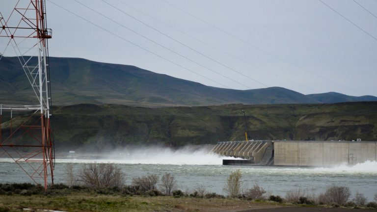 The Wanapum Dam on Washington State's Columbia River. (Eilís O'Neill/for WHYY)