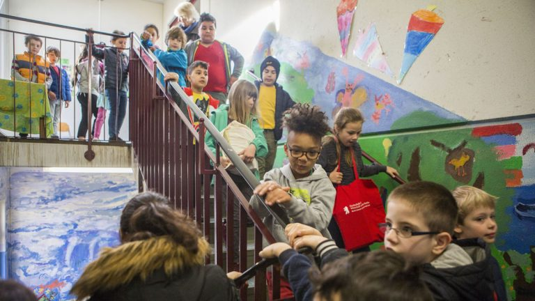 Students at Gustav Falke elementary school in the Wedding section of Berlin, Germany.  Check out the full series The Social Wall: Universal lessons in Berlin's attempt to integrate schools. (Jessica Kourkounis/For Keystone Crossroads)