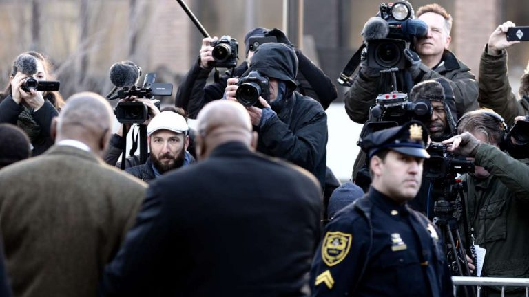 Bill Cosby's walk from his car to the Montgomery County Courthouse on the opening day of his sexual assault case is well document by members of local and national media. (Bastiaan Slabbers for WHYY)