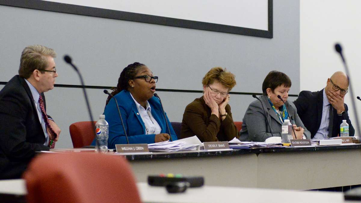 Commissioner Sylvia Simms introduces a surprise motion that puts charter conversion back on the table for Wister. (Bastiaan Slabbers for WHYY)
