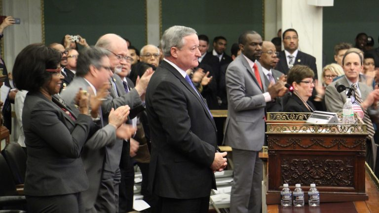 Philadelphia Mayor Jim Kenney gets a standing ovation during his budget address to City Council. (Emma Lee/WHYY)