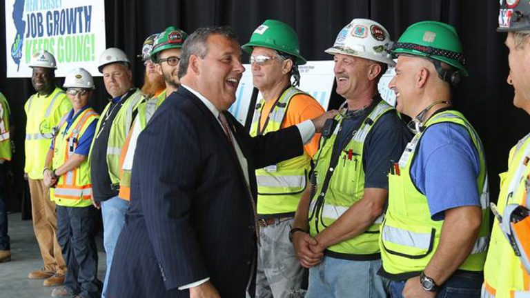 Gov. Chris  Christie meets with construction workers at American Dream site in East Rutherford, New Jersey. (Governor's Office photo)
