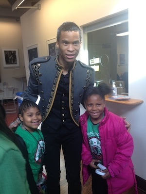 <p><p>Tayllar and Skyllar Clark meet Peter Townsend, who portrays Prince Sebastian in the production. (Courtesy of Imani/Arden)</p></p>
