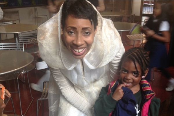<p><p>Kala Moses Baxter, as the Fairy Godmother, with Imani student Jordyn Mongomery. (Courtesy of Imani/Arden)</p></p>