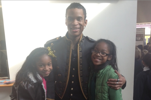 "<p><p>Imani charter school students Veronique Wilson and London Murray meet Peter ""Prince Sebastian"" Townsend. (Courtesy of Imani/Arden)</p></p>"