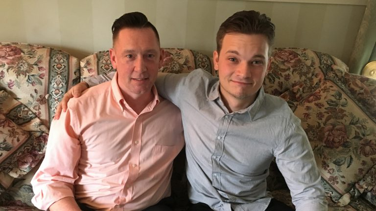 Tristan Iveson (right) traveled from Australia to South Jersey to meet Rhett Hackett and his family. Hackett helped Iveson begin to heal from the sexual abuse he suffered as a child. Hackett also was molested when he was young. (Anne Hoffman/for NewsWorks)