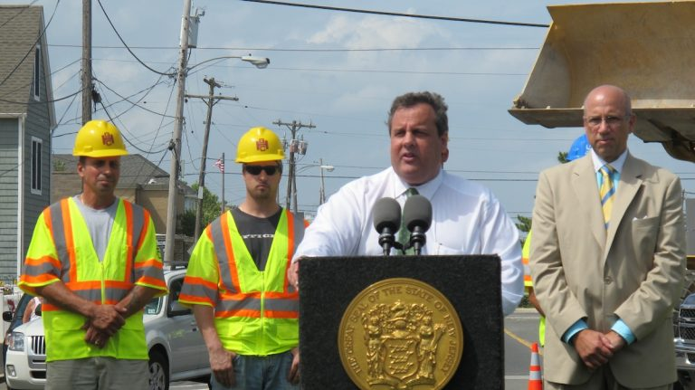 Governor Chris Christie discusses tourism and Sandy rebuilding at news conference in Seaside Park (Phil Gregory/WHYY)
