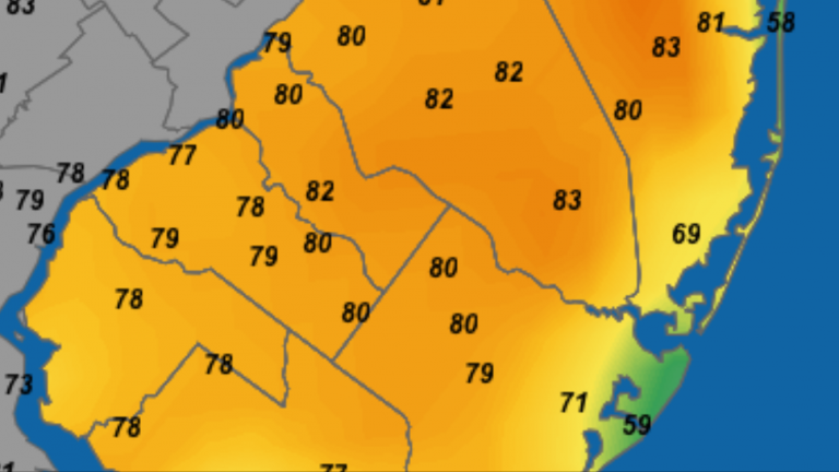 Temperatures at 2:12 p.m. today. It's coolest at the coast. (Image: NjWxNet)