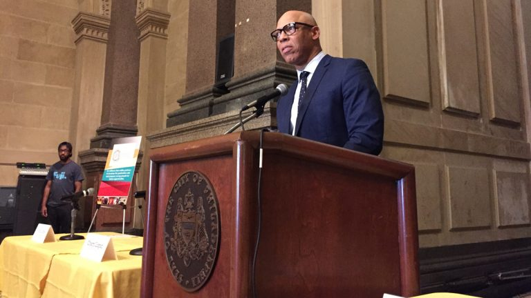 Philadelphia District Superintendent William Hite speaks about Project U-Turn's latest goals. (Avi Wolfman-Arent/WHYY)