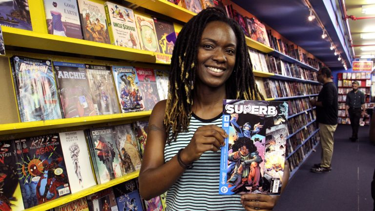 Rider University professor Sheena Howard is co-author of a new comic book series, ''Superb,'' which features a teen superhero with Down syndrome. (Emma Lee/WHYY)