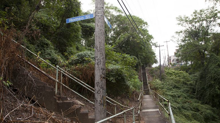 The intersection of Romeo Street and Frazier Street, in the Oakland neighborhood of Pittsburgh. (Irina Zhorov/WESA)