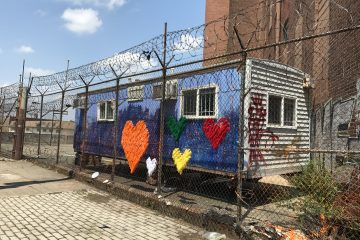 The outreach trailer at A and Tusculum Streets that temporarily closed on Thursday. (Joel Wolfram / WHYY)