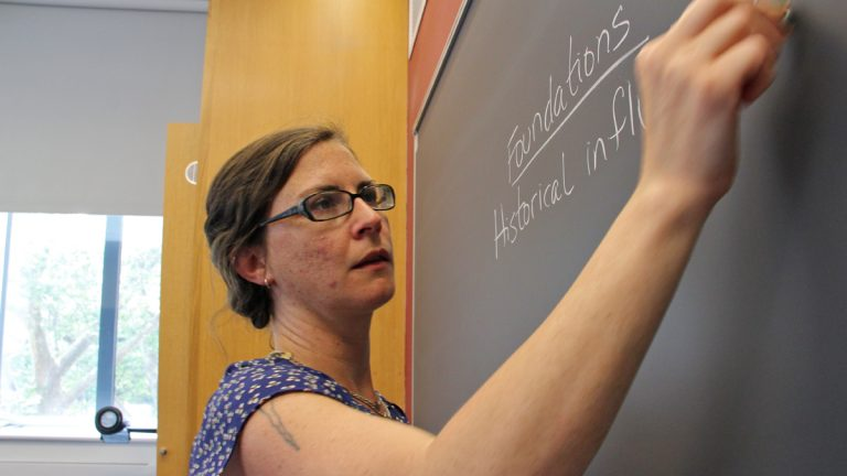Laid-off teacher Bernadette McHenry will spend her summer teaching Upward Bound classes at the University of Pennsylvania. After that, she's not sure what direction her teaching career will take. (Emma Lee/for NewsWorks)