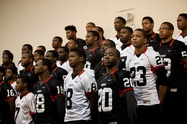 <p><p>Four seniors who played football for Imhotep signed committments for college while another 15 will pursue secondary education. Some will attempt to make their teams as walk ons. (Brad Larrison/For NewsWorks)</p></p>