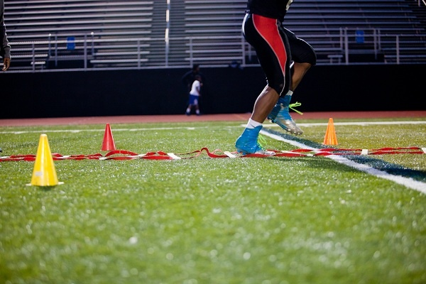 <p><p>Running drills at the start of practice. (Brad Larrison/for NewsWorks)</p></p>