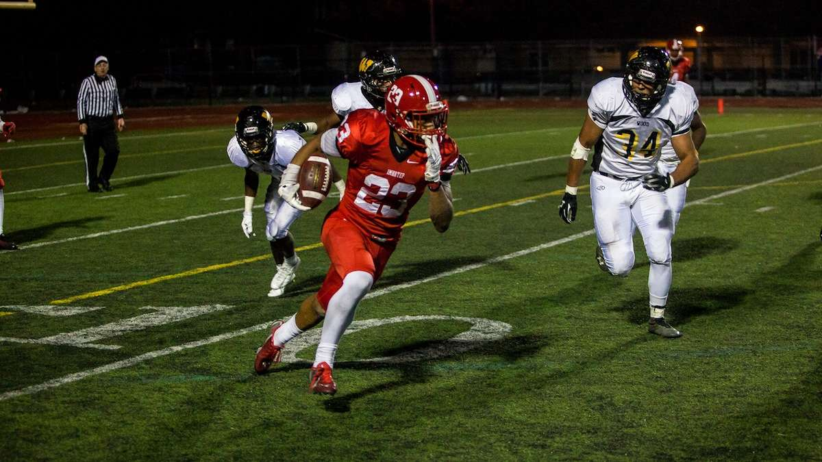 The starting point of a 90-yard run to the end zone by Imhotep's DJ Moore. (Brad Larrison/for NewsWorks)