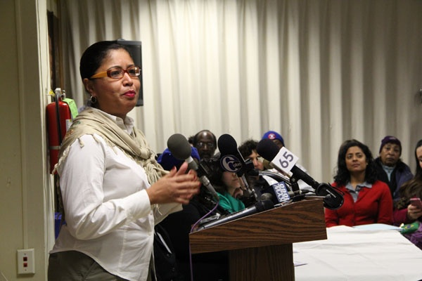 <p>City Council member Maria Quinones-Sanchez speaks in favor of national immigration reform during a press conference at the AFSCME union hall on Walnut Street. (Emma Lee/for NewsWorks)</p>