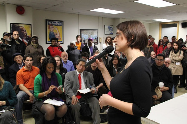 <p>Natasha Kelemen of the Pennsylvania Immigration and Citizenship Coalition moderates a question and answer session about the group's new push for immigration reform. (Emma Lee/for NewsWorks)</p>