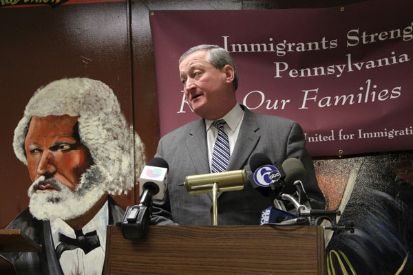 <p>City Councilman James Kenney gives his support to Pennsylvania United for Immigration Reform during a press conference at the AFSCME union hall on Walnut Street. (Emma Lee/for NewsWorks)</p>