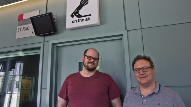 Dustin Hurt of Bowerbird and Dan Rothenberg of Pig Iron Theater in WHYY's studio Wednesday. (Kimberly Paynter/WHYY)