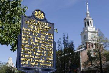 A historical marker commemorates public demonstrations for gay and lesbian equality in view of Independence Hall in Philadelphia. (AP Photo/Matt Rourke)