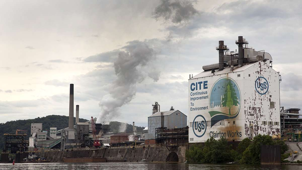 The Clairton Works, a coke plant operated by U.S. Steel, is one of the largest remaining industrial sites on the Monongahela River. It brings in coal for its operations by train and by barge. (Irina Zhorov/WESA)