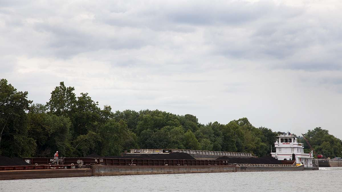 Barges move up and down Pittsburgh's rivers and can be seen stationed in the waterways, including close to downtown. Here, a chain of barges filled with coal — the primary cargo in the Port of Pittsburgh — moved on the Monongahela River close to Clairton. (Irina Zhorov/WESA)
