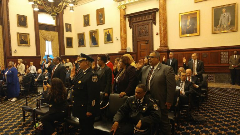 A new crop of Philadelphia integrity officers taking the oath of office Wednesday. (Tom MacDonald/WHYY)