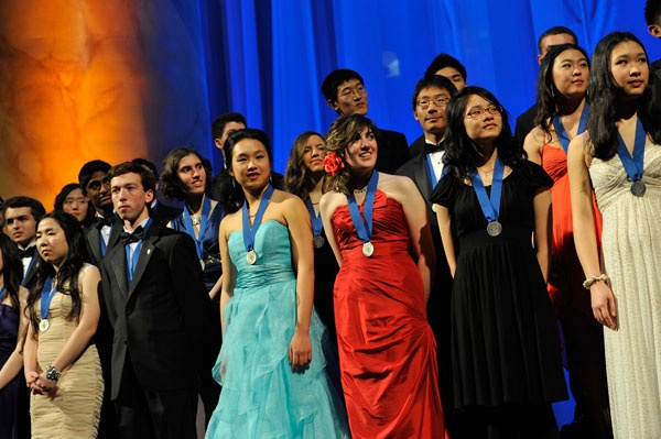 "<p><p class=""p1"">A group shot of finalists of the 2012 Intel Science Talent Search with their medals. (Courtesy of Society for Science & the Public)</p>