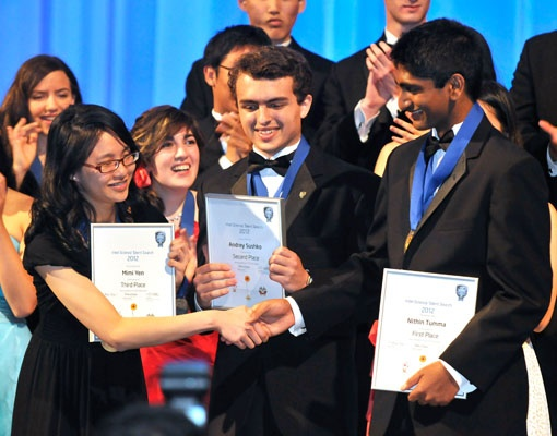 "<p><p class=""p1"">Mimi Yen, Andrey Sushko, and Nithin Tumma, the top three winners of the 2012 Intel Science Talent Search. (Courtesy of Society for Science & the Public)</p></p>"