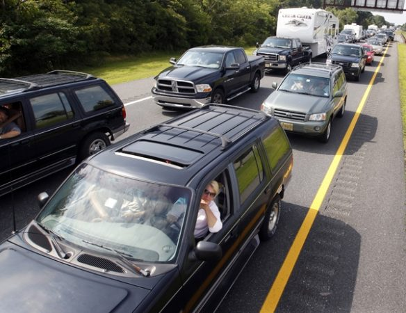 Patience was required for shore evacuees on the Parkway.  (AP Photo/Mel Evans)