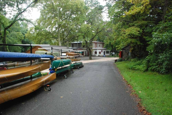 The entire driveway is expected to flood. Building caretaker, Kris Alutius, jokingly calls the Philadelphia Canoe Club