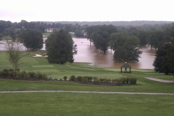 Water flooded portions of this Philadelphia golf course on Lafayette Hill Sunday. (Chris Sattulo/For NewsWorks)