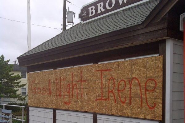 Some business owners in Southern New Jersey got a little creative with the boards that protected their windows. (Tom MacDonald/For NewsWorks)