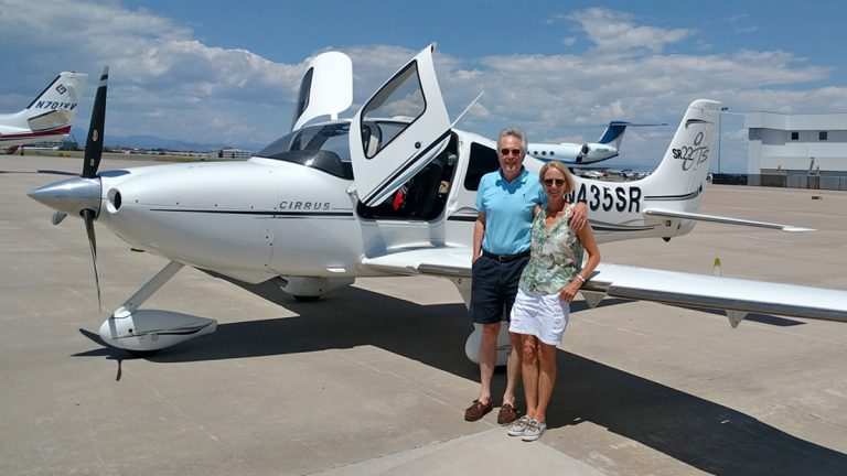 James and Deborah Fallows with their single-engine propeller plane. (Image courtesy of James and Deborah Fallows)