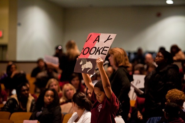 <p><p>A student makes his thoughts known at the second school-closing public meeting held at MLK High. (Brad Larrison/for NewsWorks)</p></p>