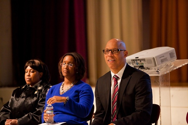 <p><p>Philadelphia Public School Superintendent Dr. William Hite, Chief of Staff Danielle Floyd and Chief Safety Officer Cynthia Dorsey heard concerns from parents and students at MLK High School on Thursday night. (Brad Larrison/for NewsWorks)</p></p>