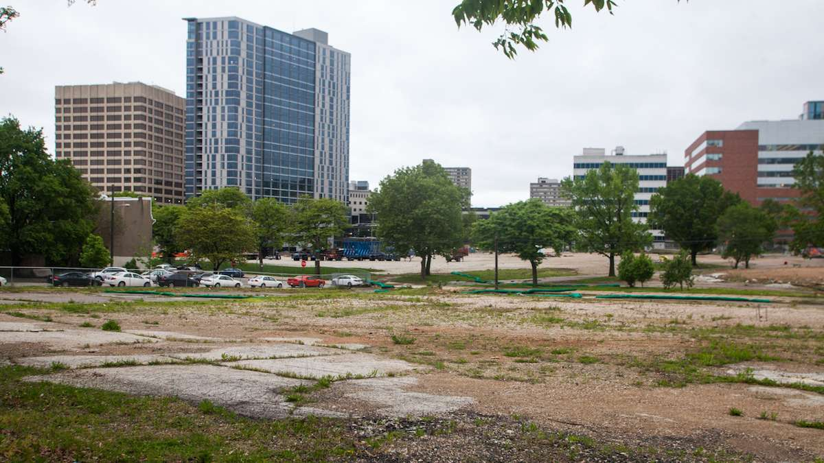The 14-acre site which was previously home to University City High School awaits redevelopment by Drexel University and Wexford Science and Technology.