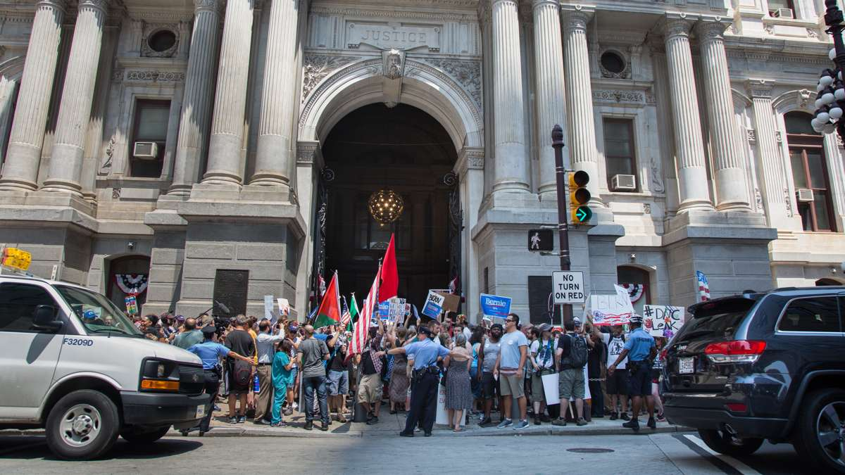 Police and protesters work together to have peaceful and safe rallies at City Hall in Philadelphia on July 25, 2016.