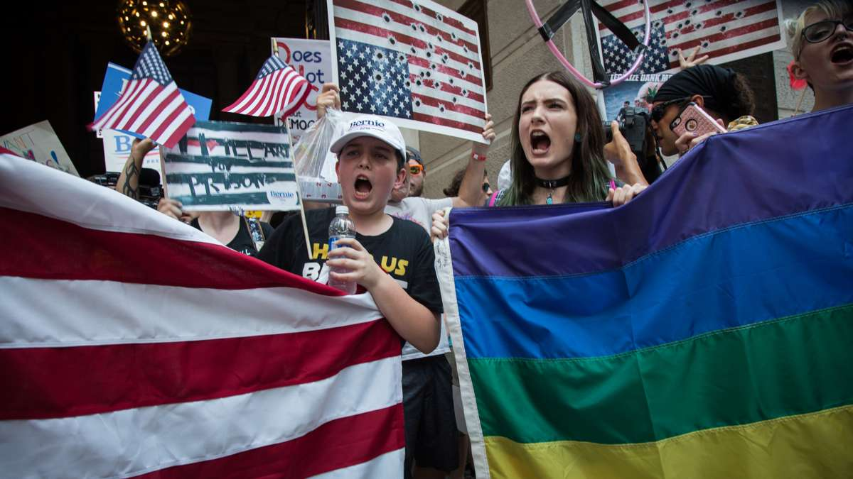 Rallies around City Hall were dominated by anti-Hilary Clinton, pro-Bernie Sanders chants as various groups waited to march down Broad Street to the Democratic National Convention in Philadelphia on July 25, 2016.