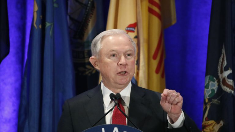 In this Tuesday, Feb. 28, 2017, file photo, Attorney General Jeff Sessions speaks at the National Association of Attorneys General annual winter meeting, in Washington. (AP Photo/Alex Brandon, File)