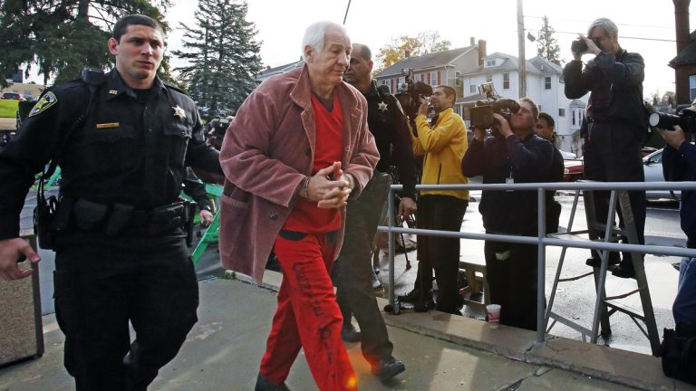 Former Penn State University assistant football coach Jerry Sandusky arrives at the Centre County Courthouse for a hearing about his appeal on his child sex-abuse conviction in Bellefonte, Pa., Oct. 29, 2015. (Gene J. Puskar/AP Photo)