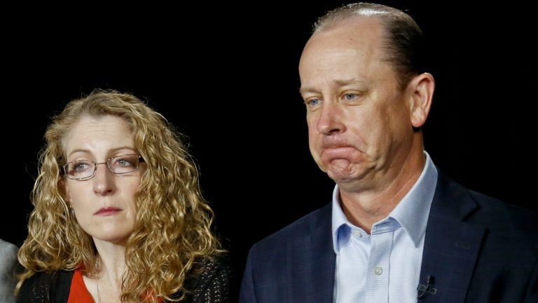 James Piazza, right, seated with his wife Evelyn, holds back emotion during an interview on Monday May 15, 2017, in New York. Their son Timothy Piazza, 19, a Penn State sophomore, died in February after he was put through a hazing ritual at his fraternity house and forced to drink dangerous amounts of alcohol in a short amount of time. (AP Photo/Bebeto Matthews)