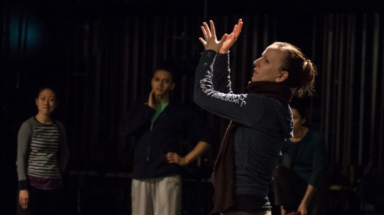 Jessica Lang rehearses 'Scape' with her dancers.  The choreographer is debuting a new work based on interviews with veterans with PTSD. (Photo by Christopher Jones)