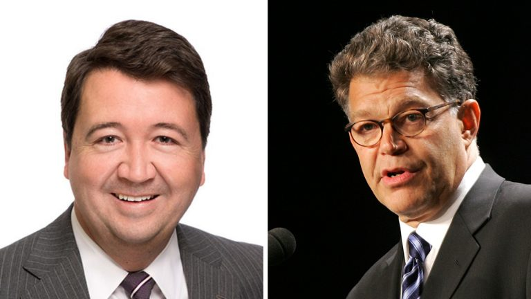 From left: John K. Bush (Bingham Greenebaum Doll LLP); Al Franken (AP Photo/Lawrence Jackson/file)
