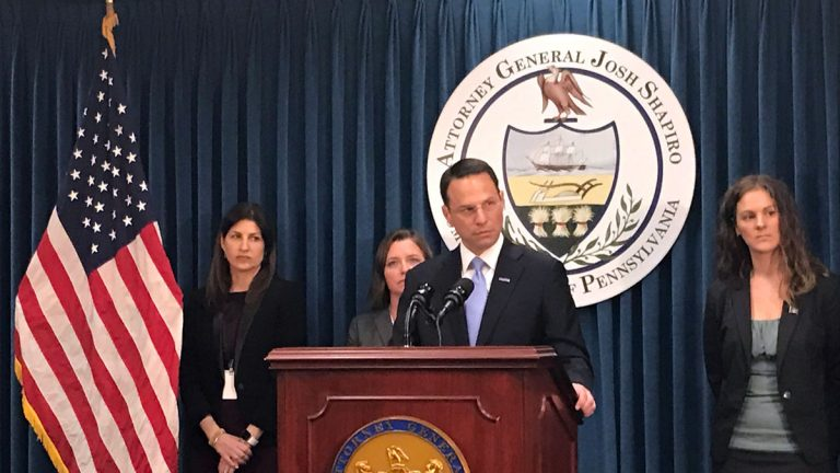 State Attorney General Josh Shapiro releases a report from the second grand jury convened to investigate the city of Harrisburg's financial disaster. (Emily Previti/WITF)