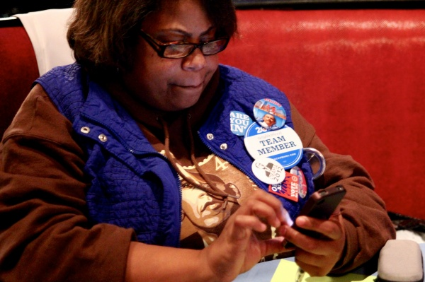 <p><p>Sign of the times: live tweeting as the results roll in. (Jana Shea /for NewsWorks )</p></p>