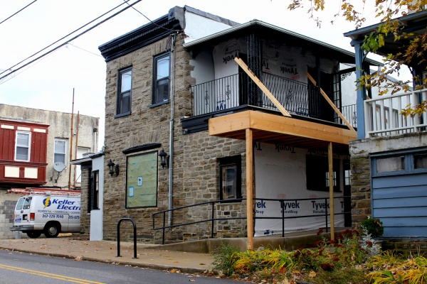 <p>A new canopy with lighting will help to draw in patrons to the Goat Hollow Tavern's main entrance. ( Jana Shea /for NewsWorks )</p>