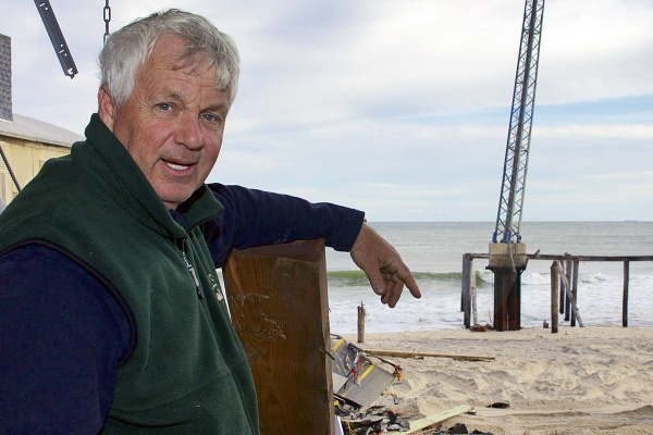 """<p><p>Bob Stewart, owner of Carousel Arcade plans to rebuild as fast as possible. The<span style=""""font-family: Helvetica; font-size: 12px;"""">life-long resident and local firefighter, has a crew of volunteers helping to demolish and clear the remains of his arcade. """"I have a lot of friends here,"""" he acknowledged.</span>( Jana Shea /for NewsWorks )</p></p>"""