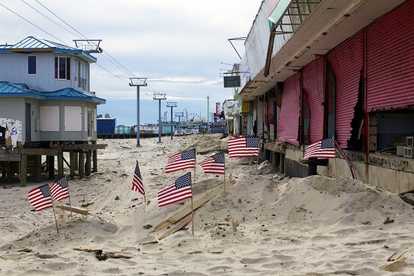 <p>The north end of Seaside Heights' boardwalk is now gone, a small memorial left behind.( Jana Shea /for NewsWorks )</p>